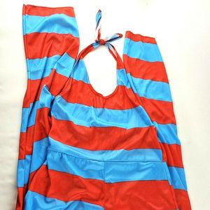 Dr. Seuss Striped Halter Jumpsuit Costume L/XL